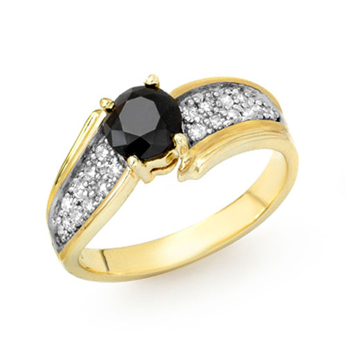 solitaire 1 4ctw white black ring yellow gold ebay